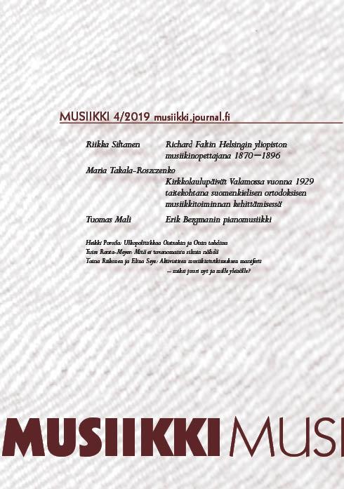 Vol 49 Nro 4 (2019): Musiikki 4/2019