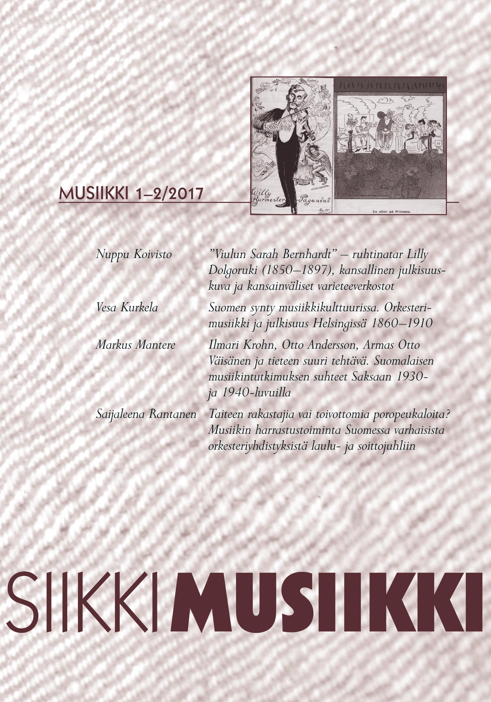 Vol 47 Nro 1-2 (2017): Musiikki 1-2/2017