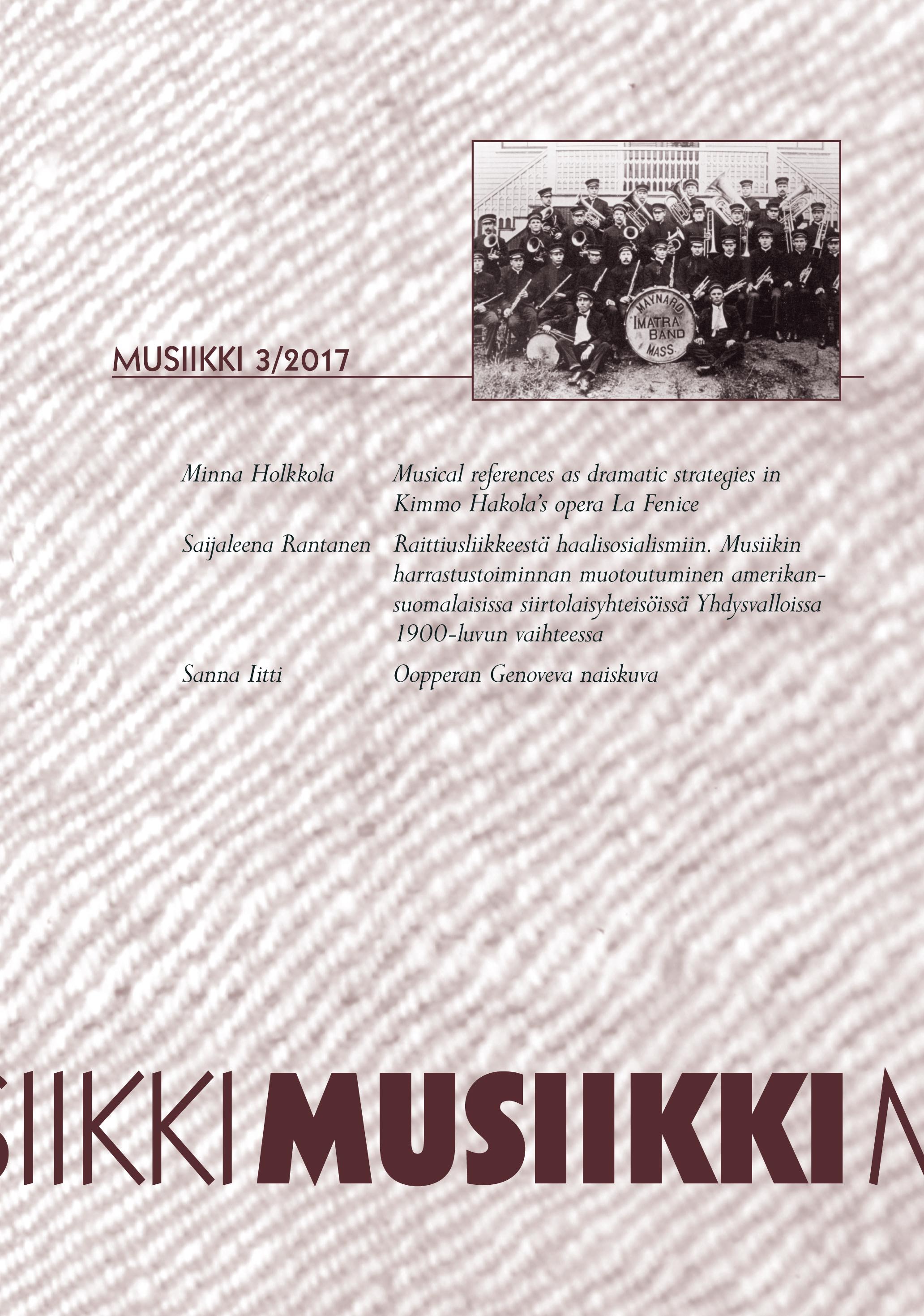 Vol 47 Nro 3 (2017): Musiikki 3/2017