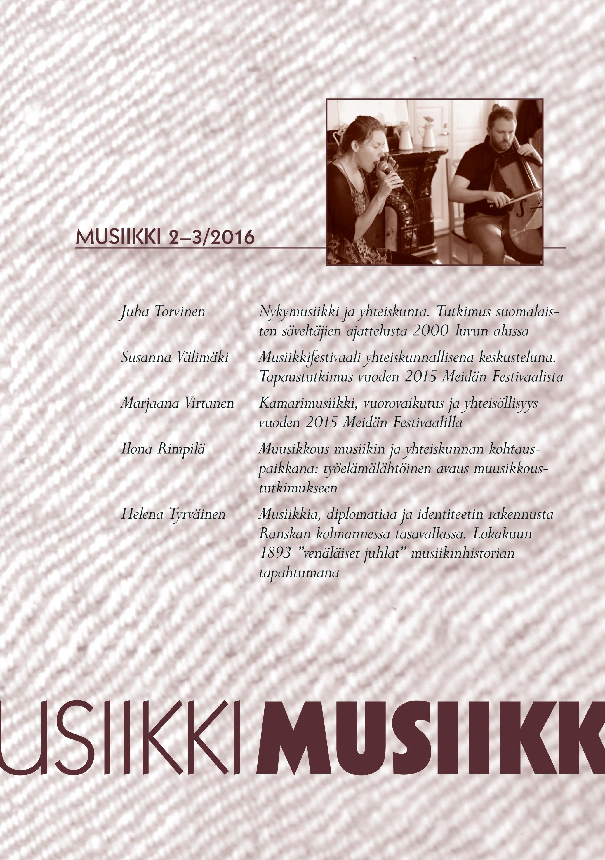 Vol 46 Nro 2-3 (2016): Musiikki 2-3/2016