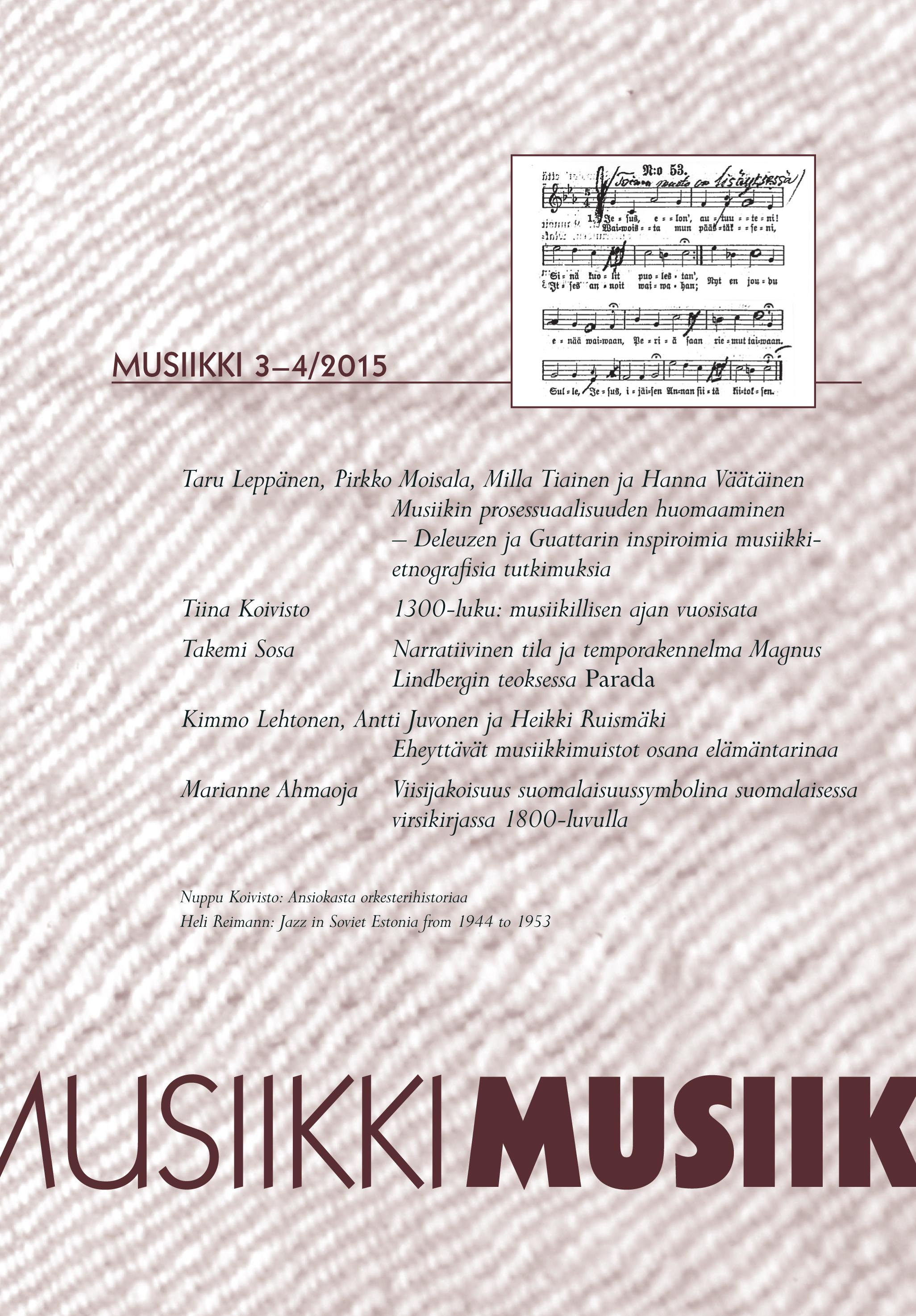 Vol 45 Nro 3-4 (2015): Musiikki 3-4/2015