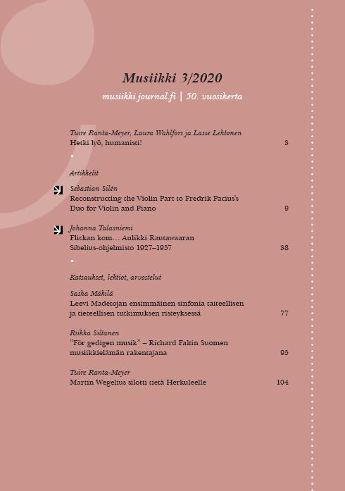 Vol 50 Nro 3 (2020): Musiikki 3/2020