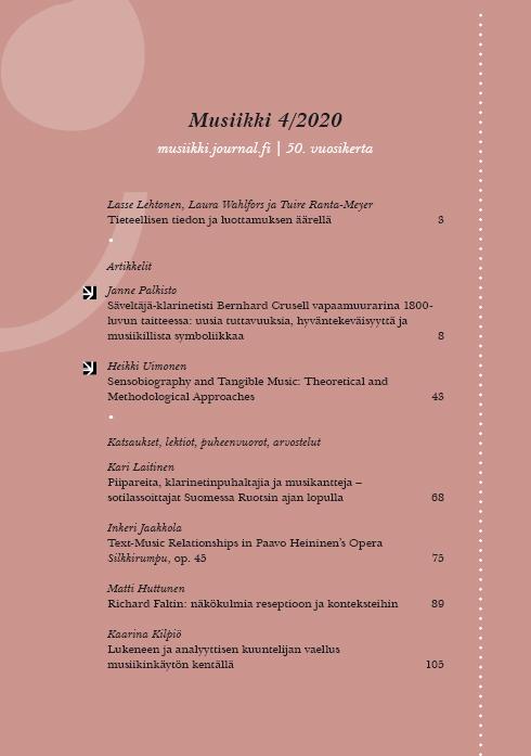 Vol 50 Nro 4 (2020): Musiikki 4/2020