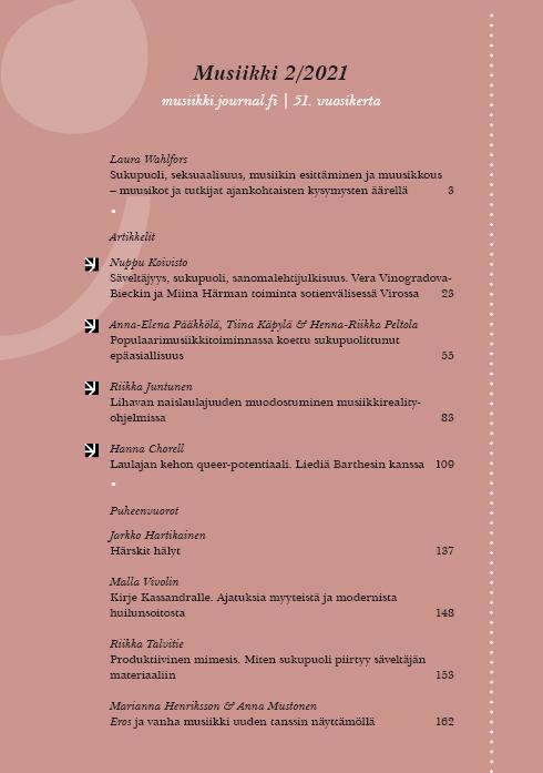 Näytä Vol 51 Nro 2 (2021): Musiikki 2/2021: Sukupuoli, seksuaalisuus, musiikin esittäminen ja muusikkous
